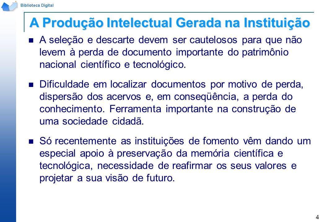 A Produção Intelectual Gerada na Instituição