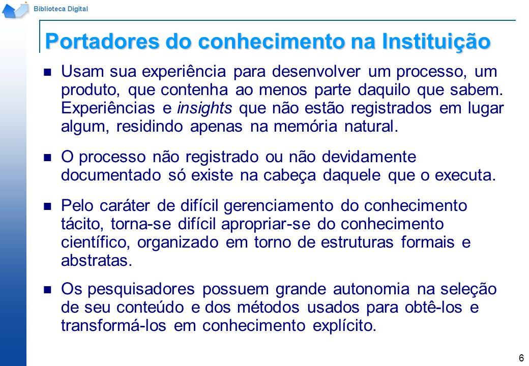 Portadores do conhecimento na Instituição