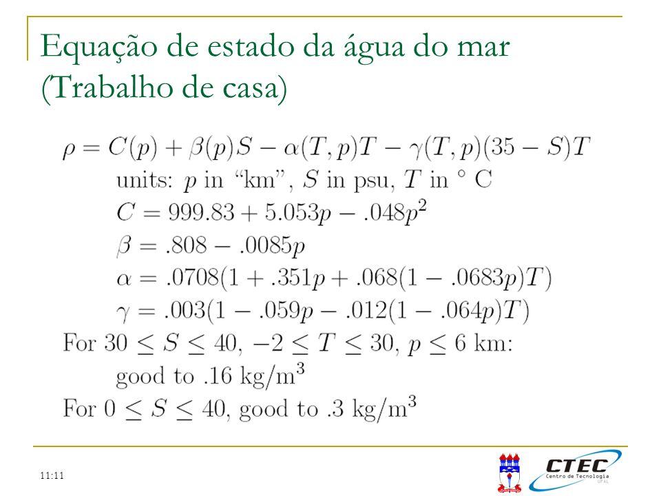 Equação de estado da água do mar (Trabalho de casa)