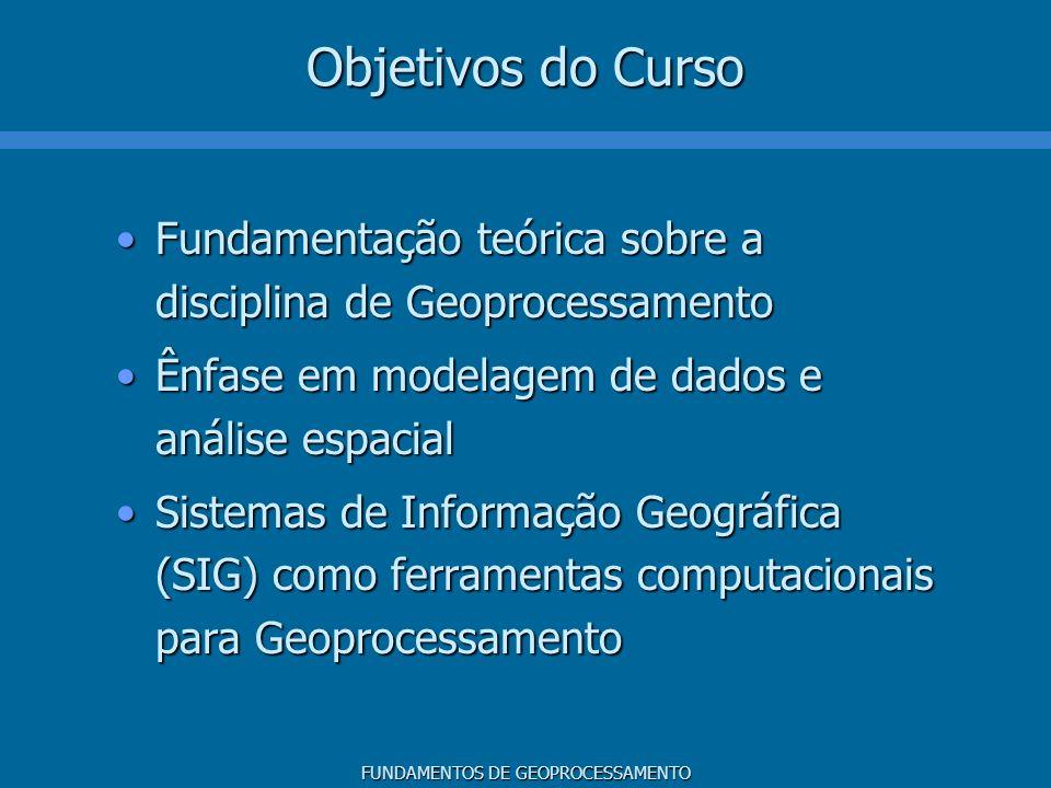 Objetivos do Curso Fundamentação teórica sobre a disciplina de Geoprocessamento. Ênfase em modelagem de dados e análise espacial.
