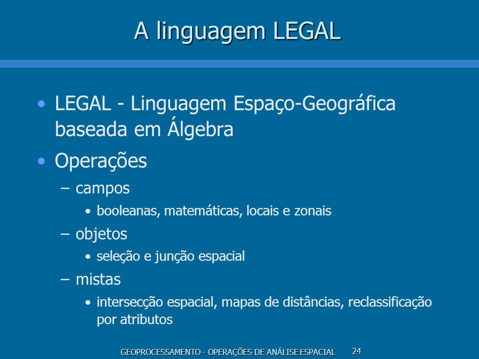 A linguagem LEGAL LEGAL - Linguagem Espaço-Geográfica baseada em Álgebra. Operações. campos. booleanas, matemáticas, locais e zonais.