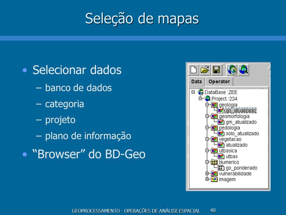Seleção de mapas Selecionar dados Browser do BD-Geo banco de dados