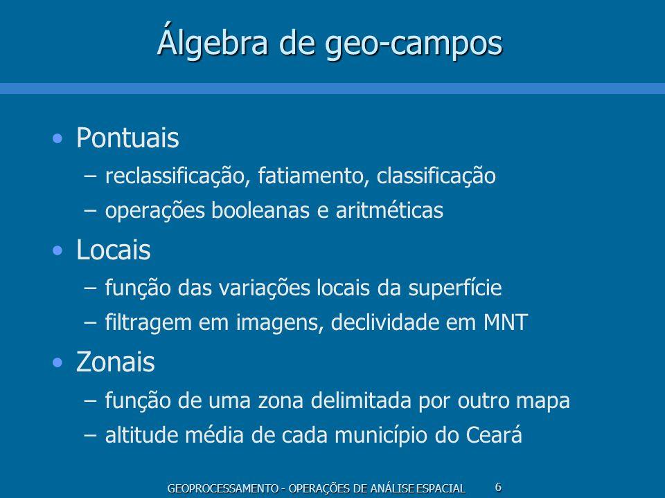 Álgebra de geo-campos Pontuais Locais Zonais