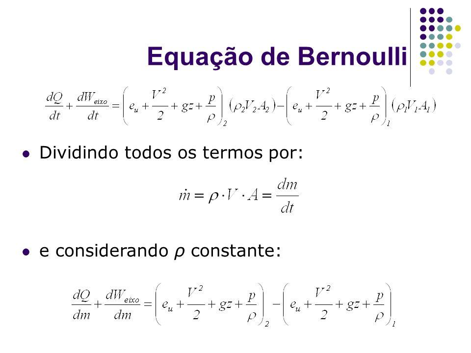 Equação de Bernoulli Dividindo todos os termos por: