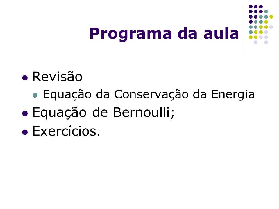 Programa da aula Revisão Equação de Bernoulli; Exercícios.