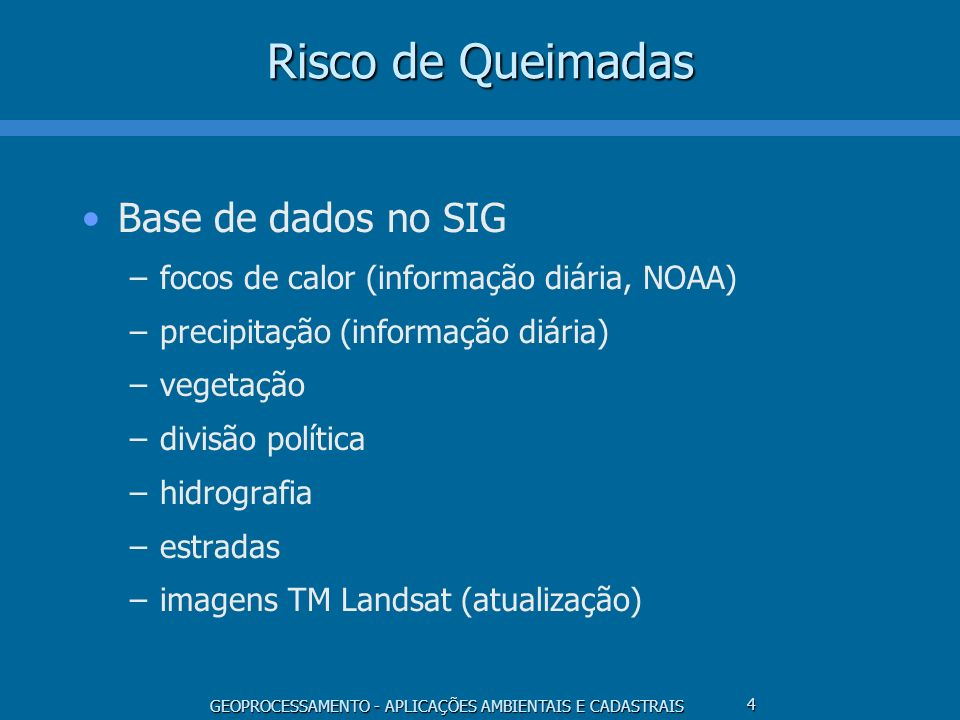 Risco de Queimadas Base de dados no SIG