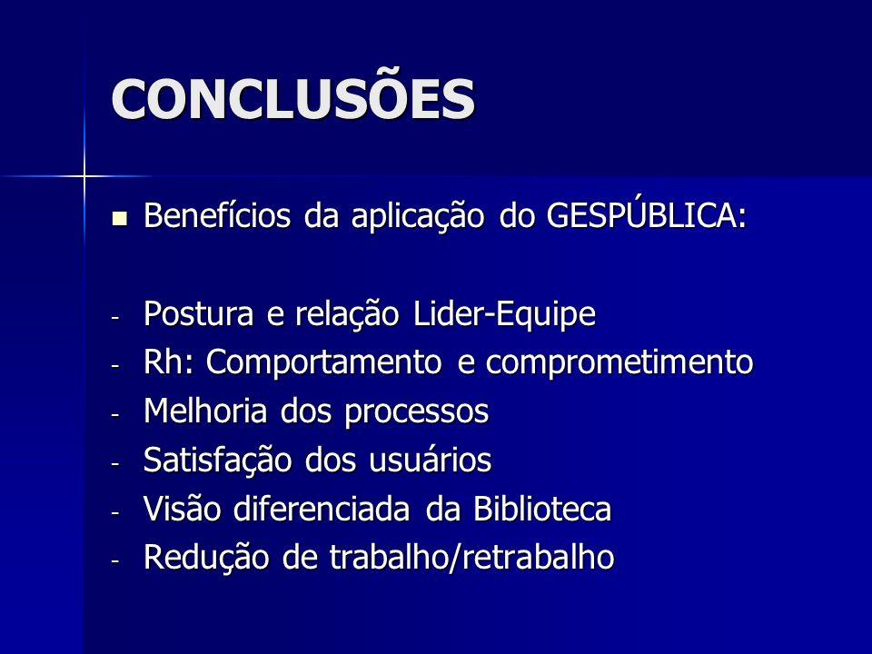 CONCLUSÕES Benefícios da aplicação do GESPÚBLICA: