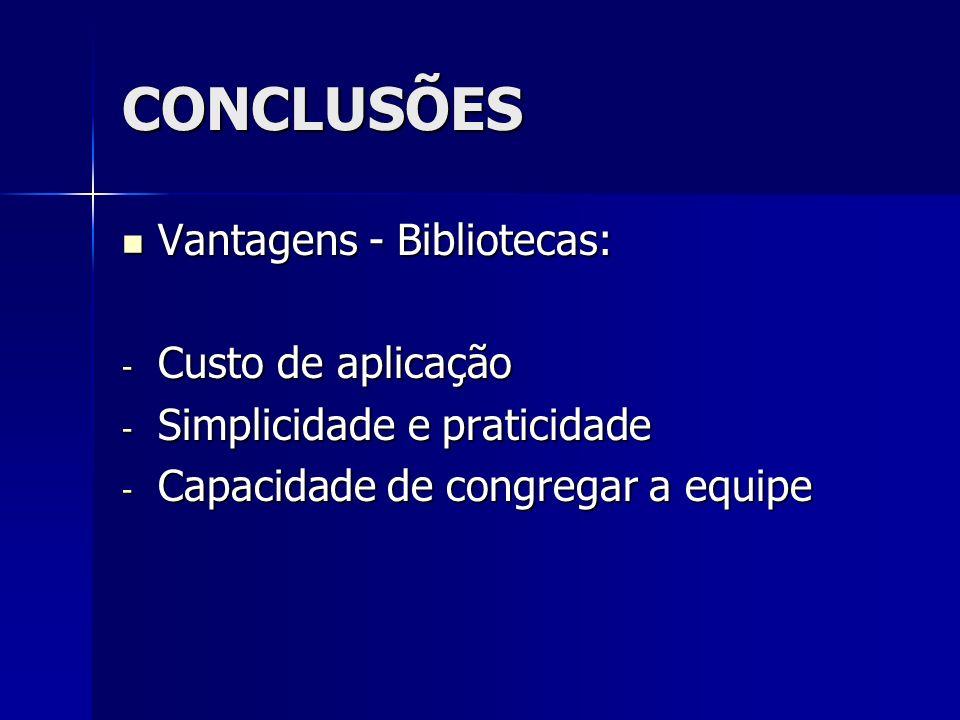 CONCLUSÕES Vantagens - Bibliotecas: Custo de aplicação