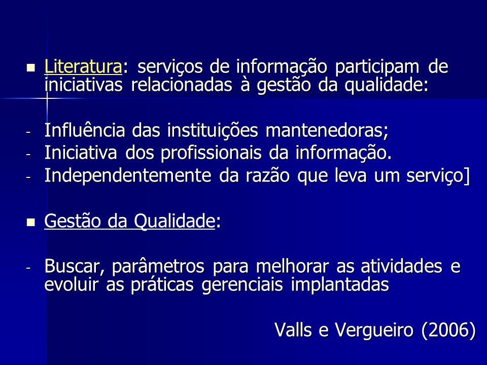 Literatura: serviços de informação participam de iniciativas relacionadas à gestão da qualidade:
