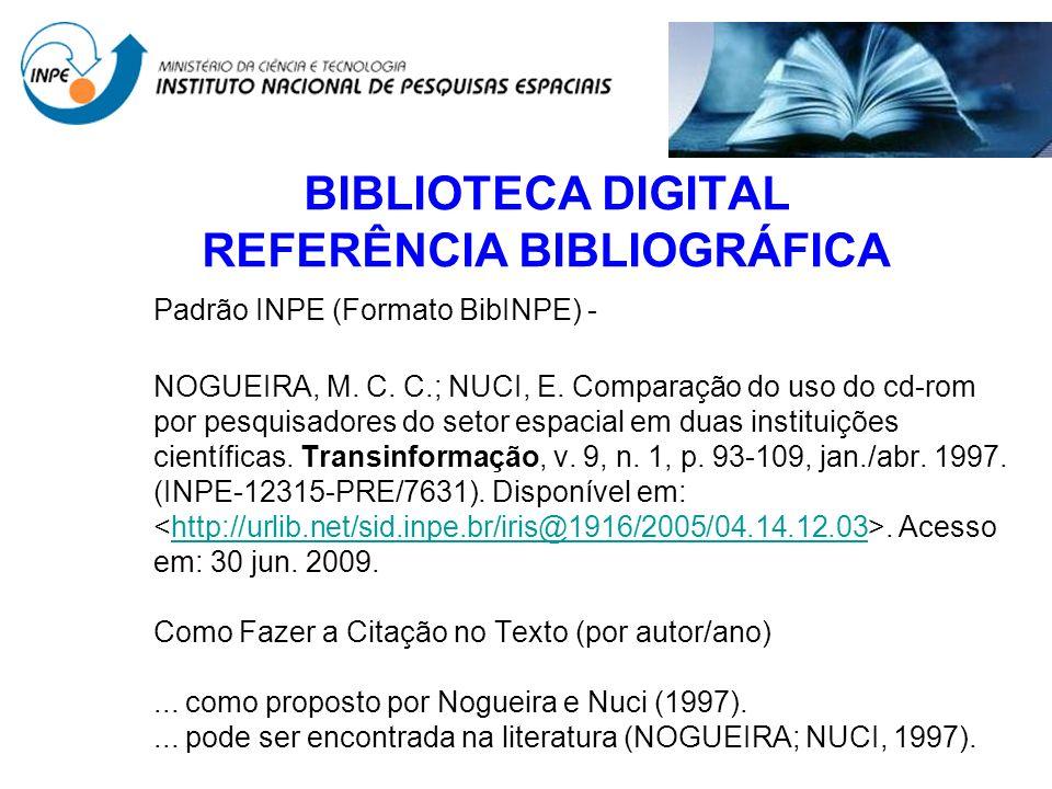 BIBLIOTECA DIGITAL REFERÊNCIA BIBLIOGRÁFICA