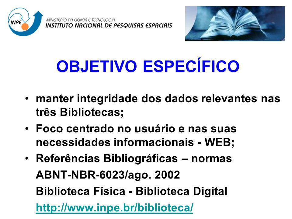 OBJETIVO ESPECÍFICO manter integridade dos dados relevantes nas três Bibliotecas;