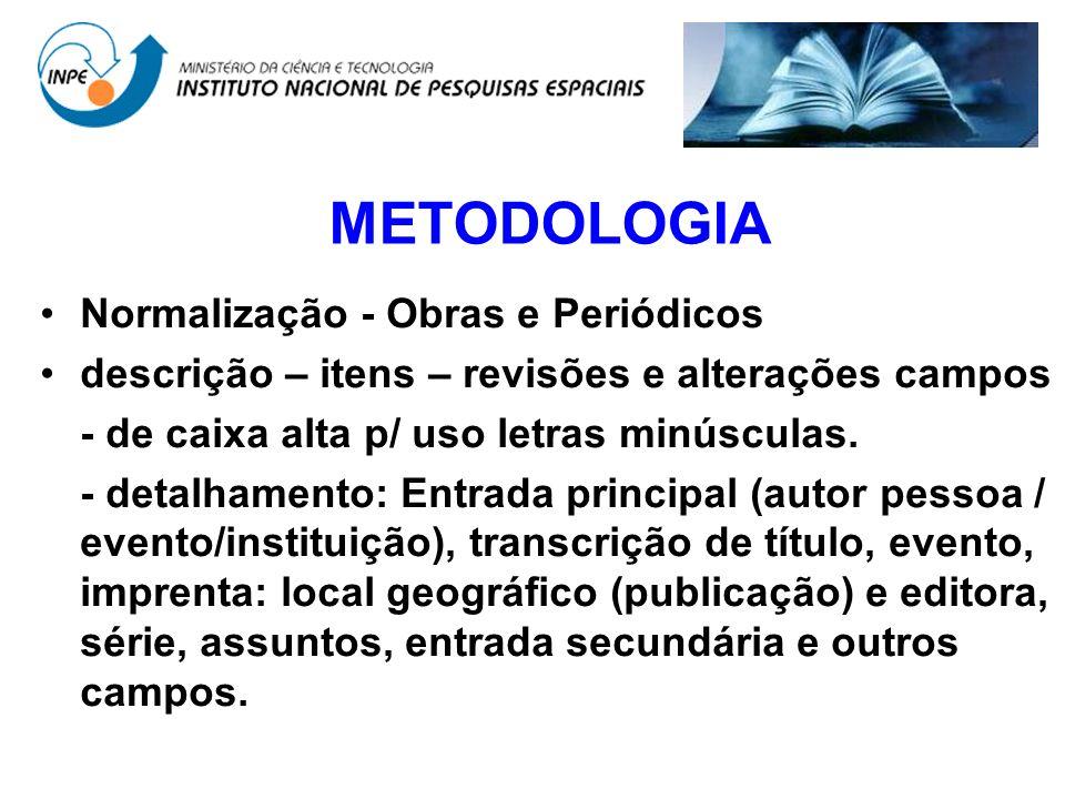 METODOLOGIA Normalização - Obras e Periódicos