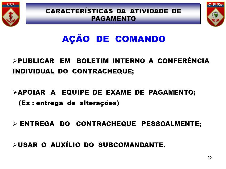 CARACTERÍSTICAS DA ATIVIDADE DE PAGAMENTO