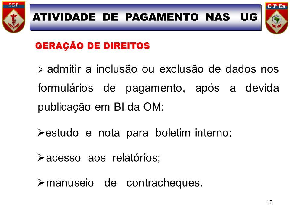 ATIVIDADE DE PAGAMENTO NAS UG