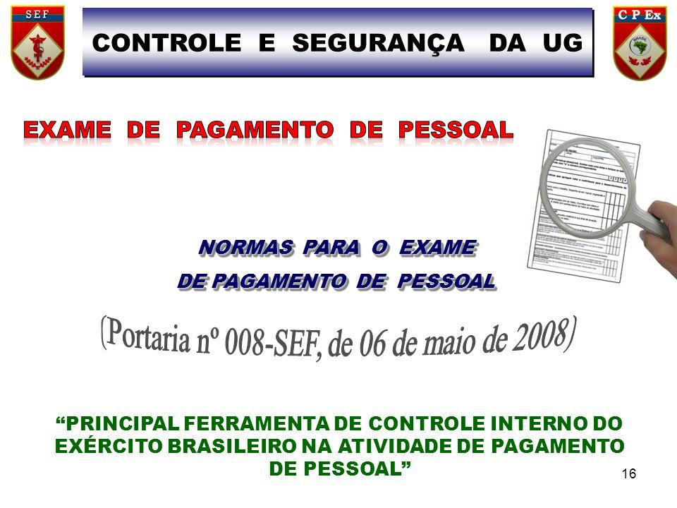 CONTROLE E SEGURANÇA DA UG DE PAGAMENTO DE PESSOAL