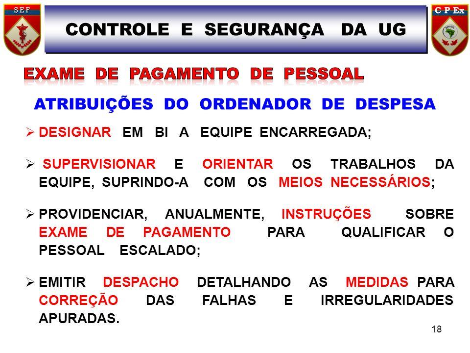 CONTROLE E SEGURANÇA DA UG ATRIBUIÇÕES DO ORDENADOR DE DESPESA