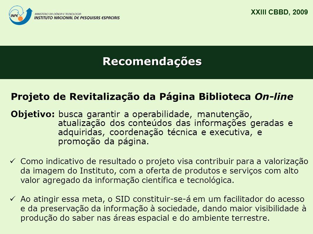 Recomendações Projeto de Revitalização da Página Biblioteca On-line