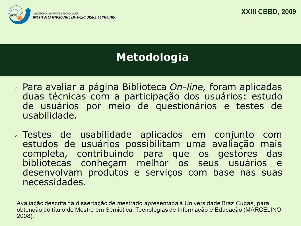 XXIII CBBD, 2009 Metodologia.