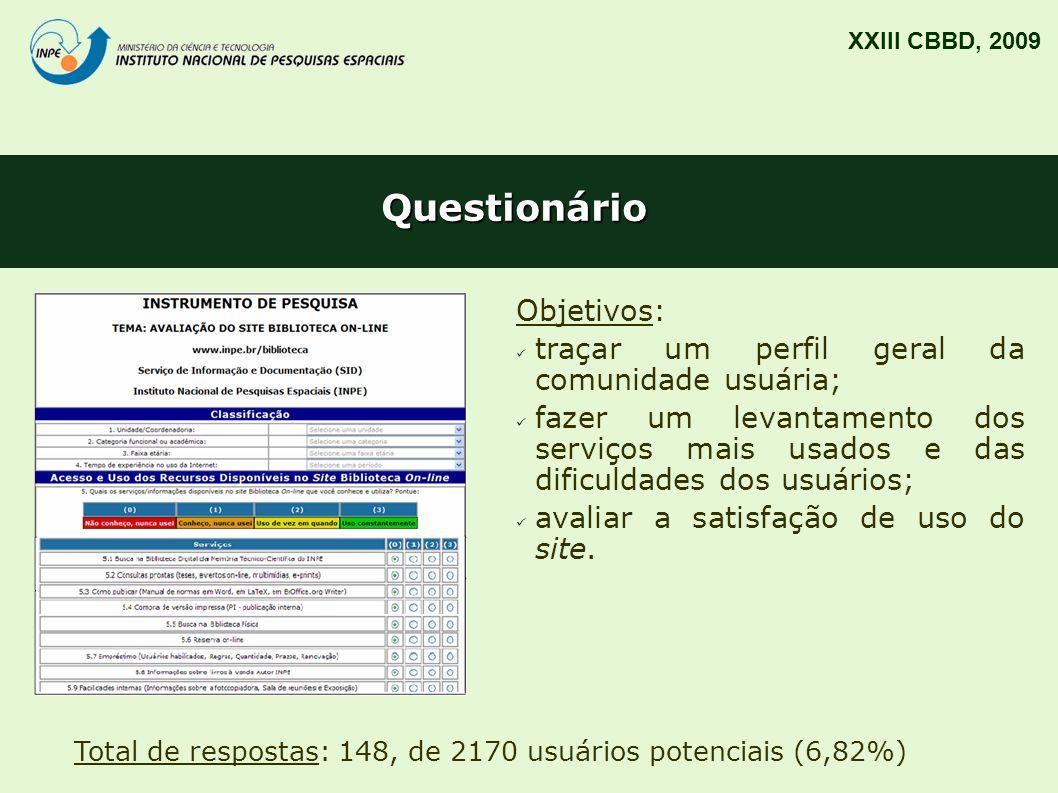 Questionário Objetivos: traçar um perfil geral da comunidade usuária;