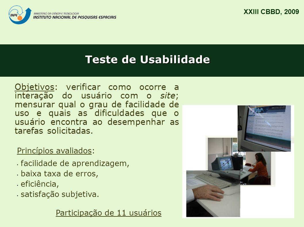 XXIII CBBD, 2009 Teste de Usabilidade.