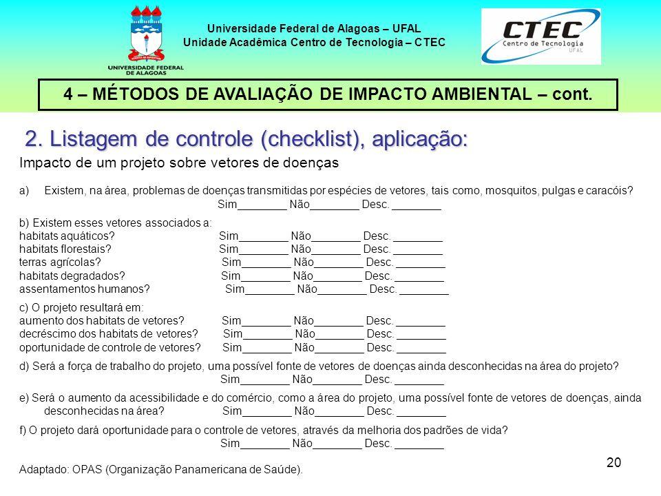 Listagem de controle (checklist), aplicação: