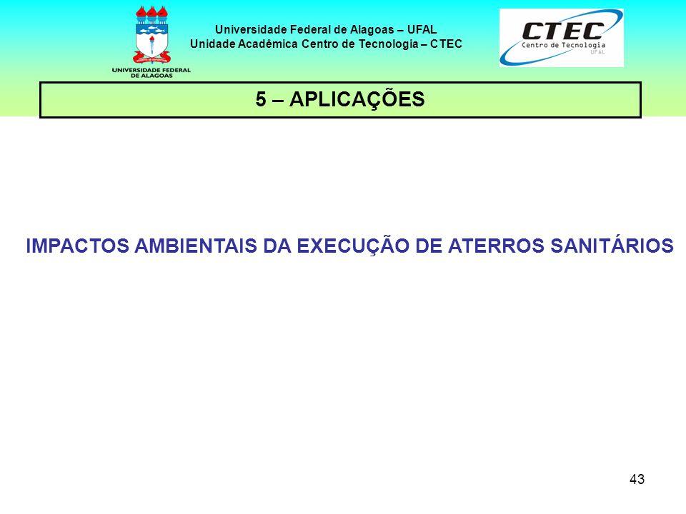 5 – APLICAÇÕES IMPACTOS AMBIENTAIS DA EXECUÇÃO DE ATERROS SANITÁRIOS