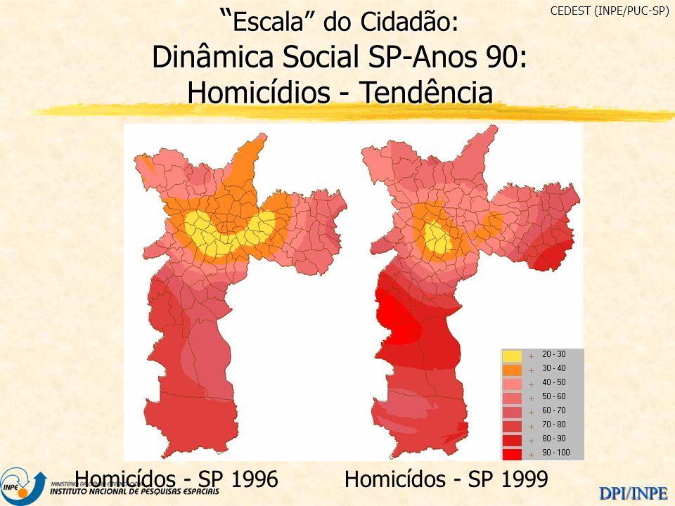 CEDEST (INPE/PUC-SP) Escala do Cidadão: Dinâmica Social SP-Anos 90: Homicídios - Tendência. Homicídos - SP 1996.