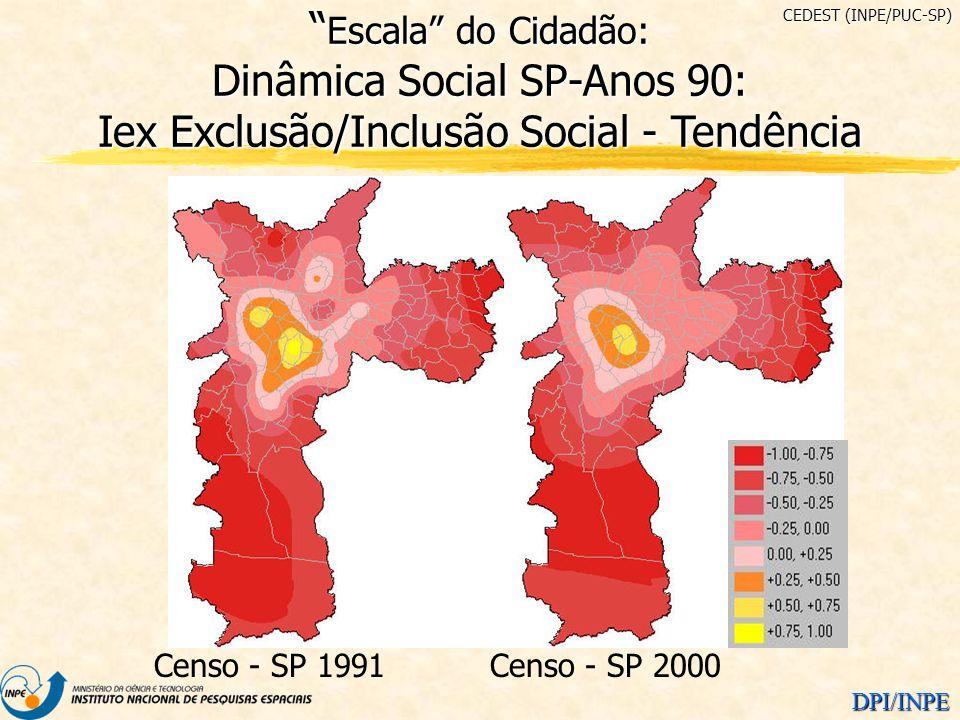 CEDEST (INPE/PUC-SP) Escala do Cidadão: Dinâmica Social SP-Anos 90: Iex Exclusão/Inclusão Social - Tendência.