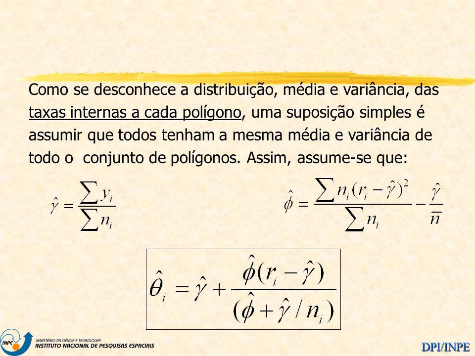 Como se desconhece a distribuição, média e variância, das taxas internas a cada polígono, uma suposição simples é assumir que todos tenham a mesma média e variância de todo o conjunto de polígonos.