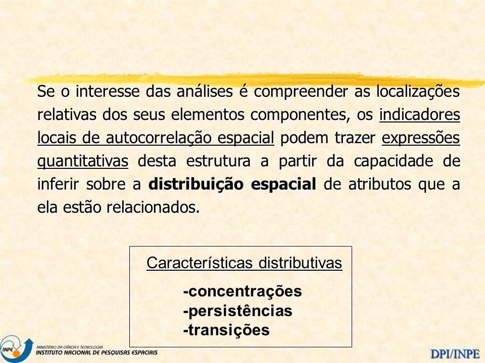Se o interesse das análises é compreender as localizações relativas dos seus elementos componentes, os indicadores locais de autocorrelação espacial podem trazer expressões quantitativas desta estrutura a partir da capacidade de inferir sobre a distribuição espacial de atributos que a ela estão relacionados.