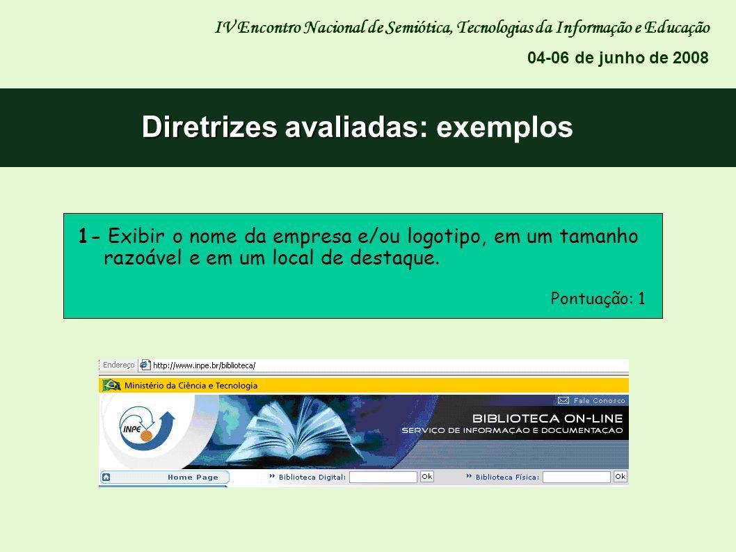 Diretrizes avaliadas: exemplos