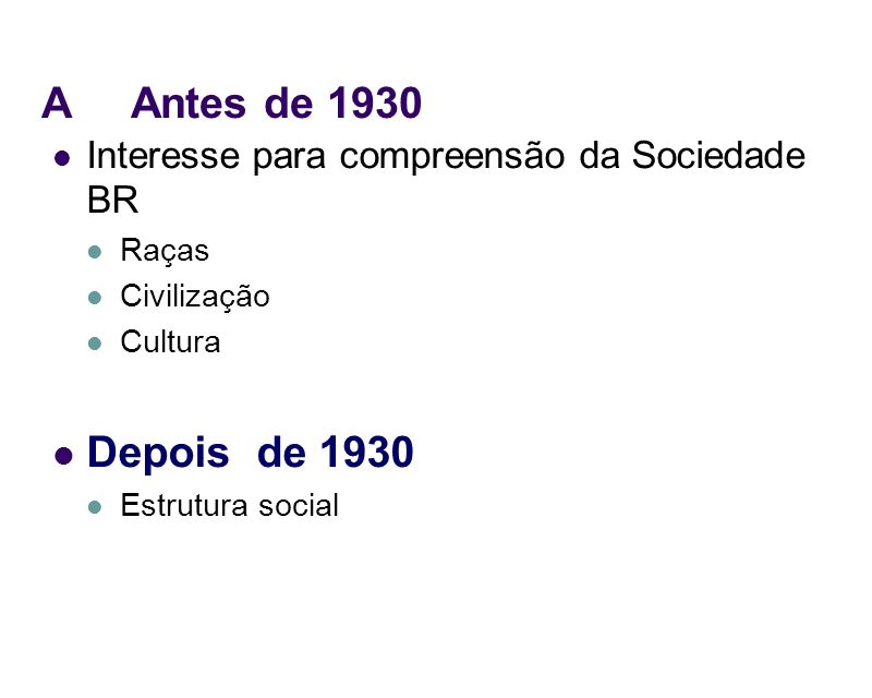 A Antes de 1930Interesse para compreensão da Sociedade BR. Raças. Civilização. Cultura. Depois de 1930.