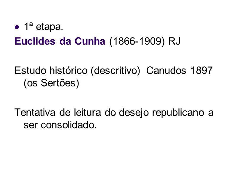 1ª etapa. Euclides da Cunha (1866-1909) RJ. Estudo histórico (descritivo) Canudos 1897 (os Sertões)