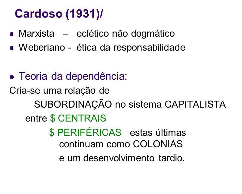 Cardoso (1931)/ Teoria da dependência: