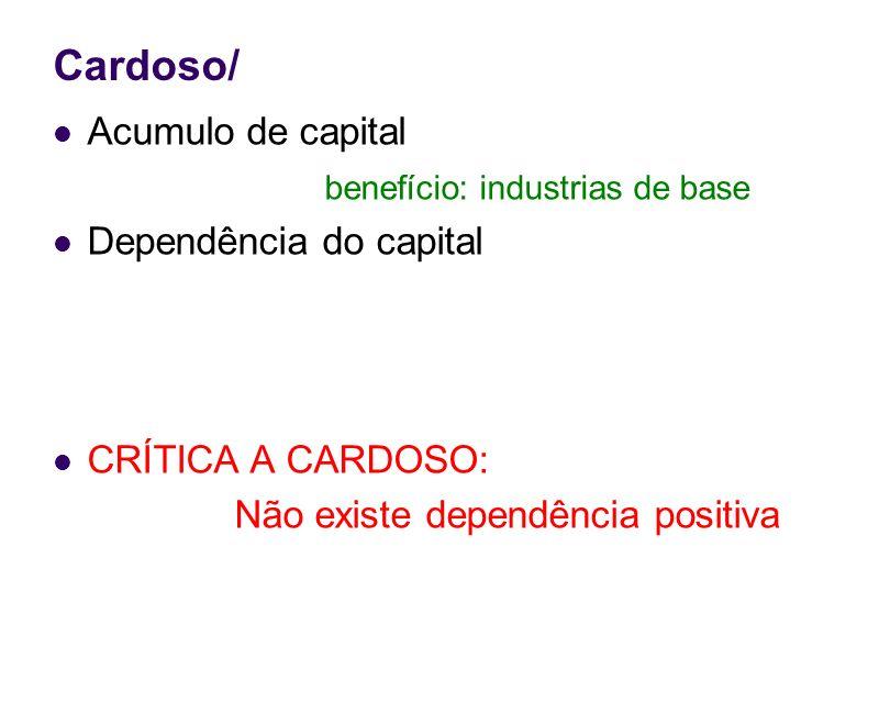 Cardoso/ Acumulo de capital benefício: industrias de base