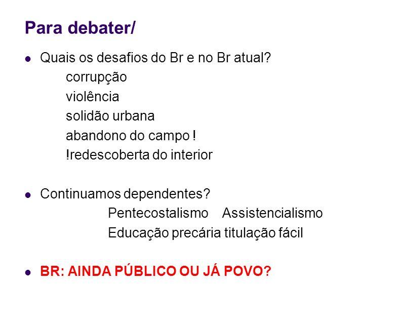 Para debater/ Quais os desafios do Br e no Br atual corrupção