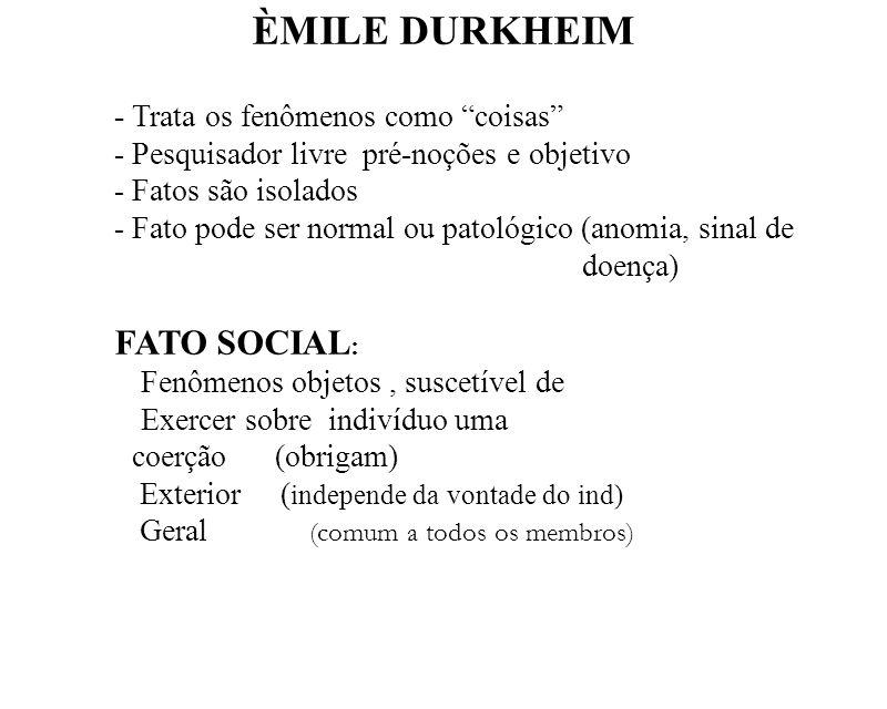 ÈMILE DURKHEIM Exercer sobre indivíduo uma coerção (obrigam)