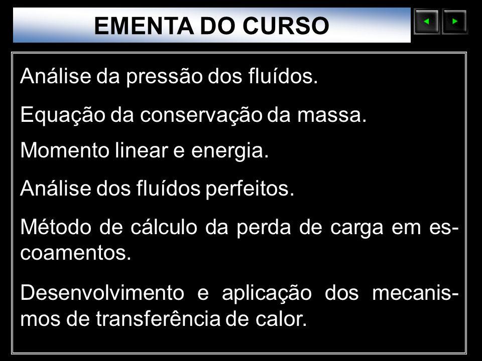 EMENTA DO CURSO Análise da pressão dos fluídos.