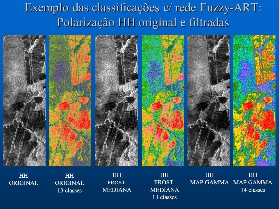 Exemplo das classificações c/ rede Fuzzy-ART: Polarização HH original e filtradas