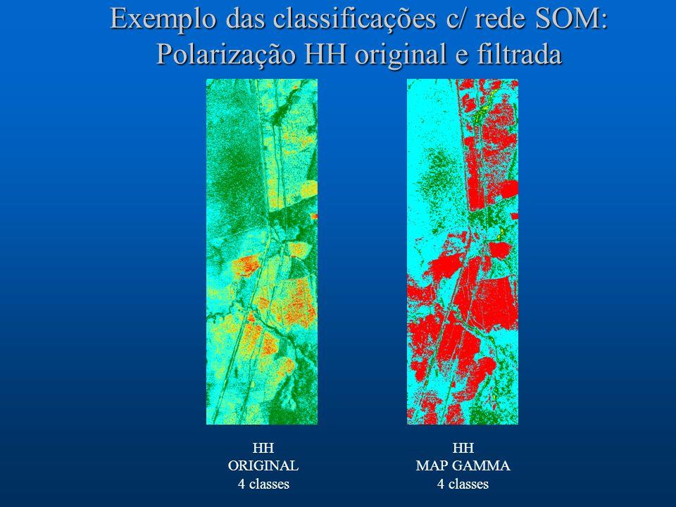 Exemplo das classificações c/ rede SOM: Polarização HH original e filtrada