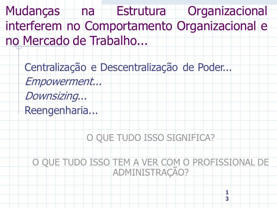 Mudanças na Estrutura Organizacional interferem no Comportamento Organizacional e no Mercado de Trabalho...