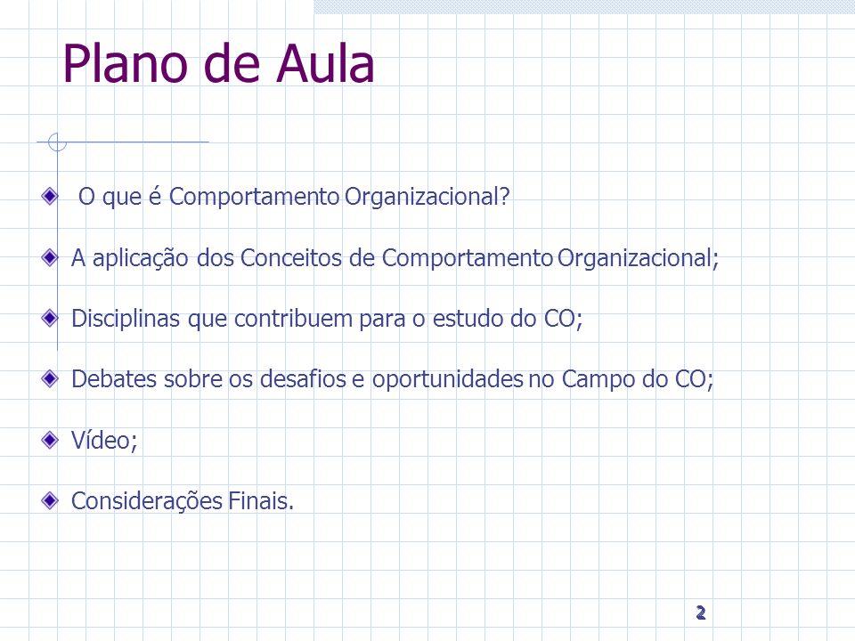 Plano de Aula O que é Comportamento Organizacional