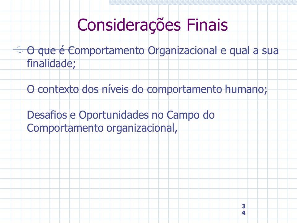 Considerações Finais O que é Comportamento Organizacional e qual a sua finalidade; O contexto dos níveis do comportamento humano;