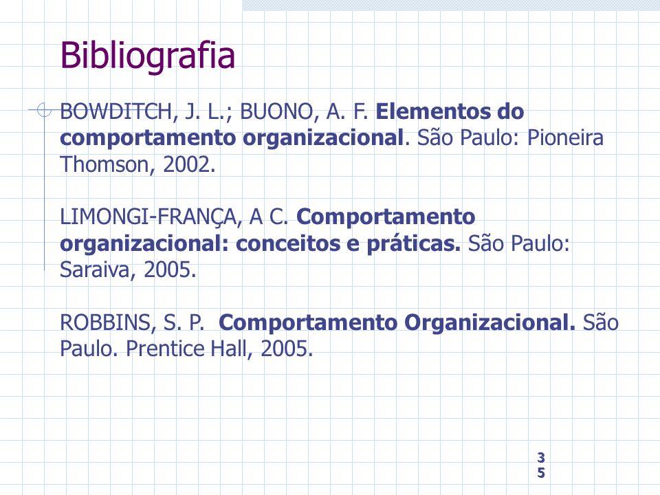 BibliografiaBOWDITCH, J. L.; BUONO, A. F. Elementos do comportamento organizacional. São Paulo: Pioneira Thomson, 2002.