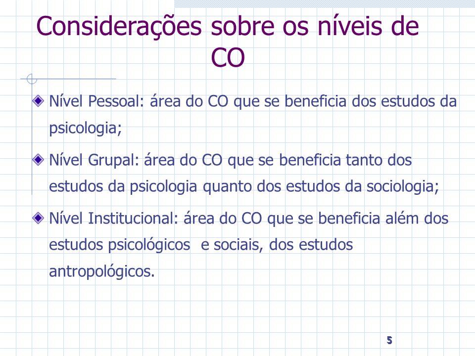 Considerações sobre os níveis de CO