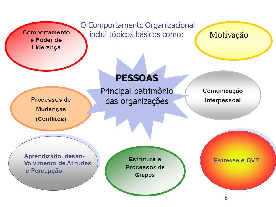 Motivação PESSOAS Principal patrimônio das organizações