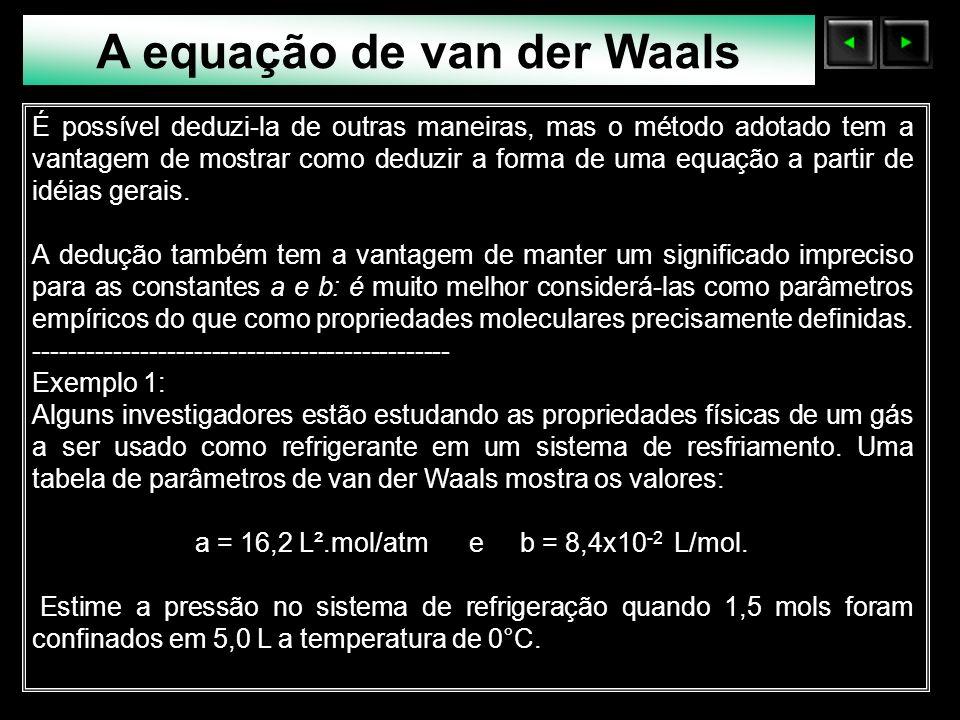 A equação de van der Waals