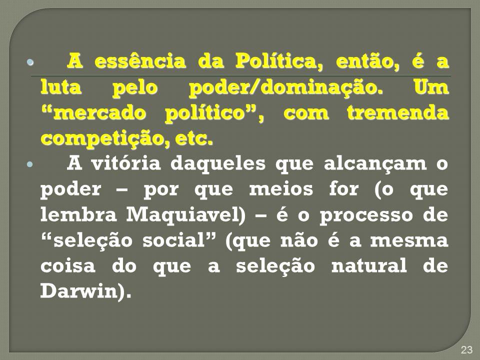 A essência da Política, então, é a luta pelo poder/dominação