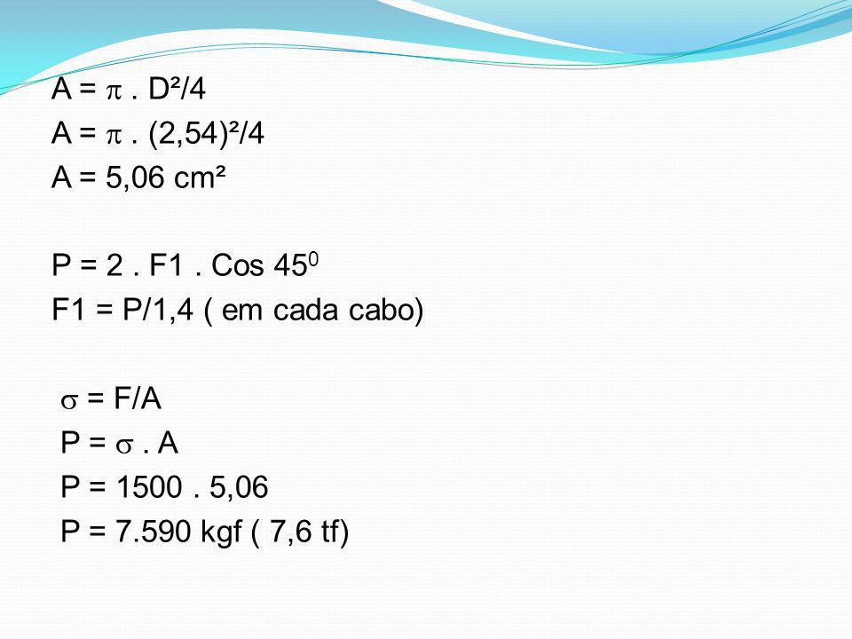 A =  . D²/4 A =  . (2,54)²/4. A = 5,06 cm². P = 2 . F1 . Cos 450. F1 = P/1,4 ( em cada cabo)  = F/A.