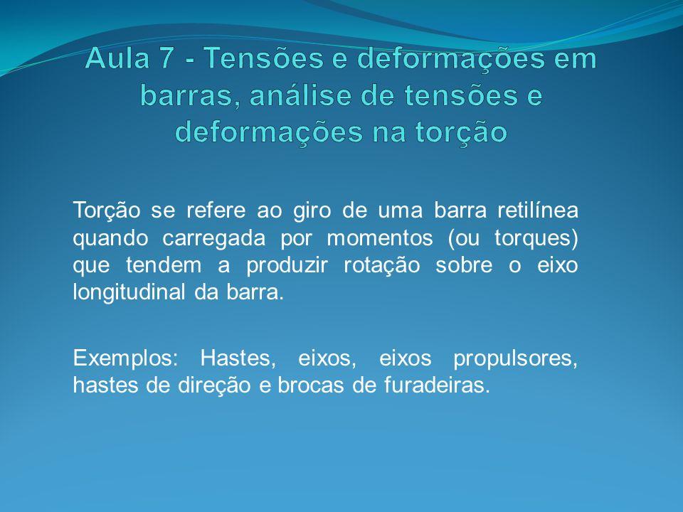 Aula 7 - Tensões e deformações em barras, análise de tensões e deformações na torção